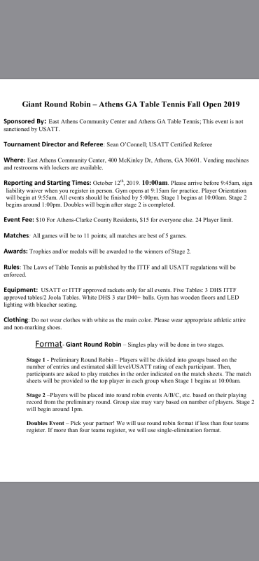 Athens Fall Open 2019 Page 1
